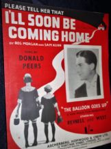 VINTAGE ORIGINAL SHEET MUSIC 1943 I'LL SOON BE COMING HOME BALLOON GOES UP RARE